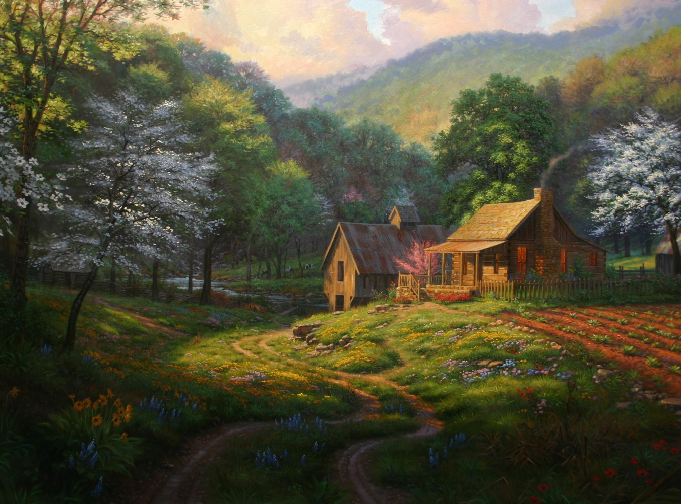 Log cabin in the woods painting - Log Cabin In The Woods Stream Wesharepics Full Resolution Photo Nominally Width 1351